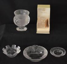 Wonderful Lot of 5 Lalique Art Glass Accessories