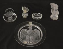 Generous Group of 5 Lalique Art Glass Pieces