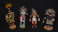 4 Vintage Painted Wood Kachina Dolls
