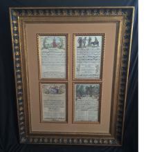 Large Decorative Vintage  Painted Framed Music Sheets