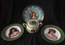 Lot Of 3 Antique Portrait Plates And Tobacco Jar