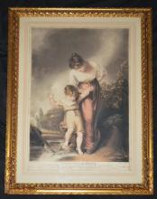Mezzotint of A Mother & Child Crossing a Brook