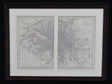 1855 George Cox Framed Map of Paris
