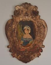 Antique Painted Wood Folk Art Wall Plaque