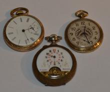 3 Gold Tone Open Face Pocket Watches