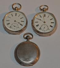 3 English Sterling & 800 Silver Pocket Watches