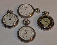 4 Silver-plate Pocket Watches