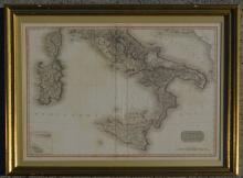 1812 Pinkerton Map of Southern Italy