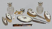 R. Blackinton Sterling & Guilloche Enamel Dresser Set