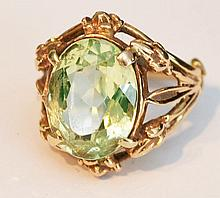 Large Peridot & 14k Gold Ring