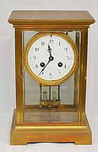 Brass Case Clock w Mercury Pendulum