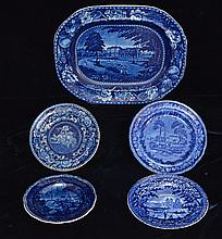 Historical Staffordshire Deep Flow Blue Lot