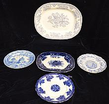 Collection of Flow Blue & Transferware Platters & Plates