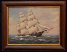 O/C Painting The Flying Cloud Ship Signed Bailey