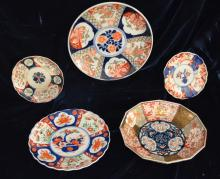 3 Imari Chargers and 2 Dishes