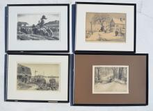 4 Signed & Framed Etchings