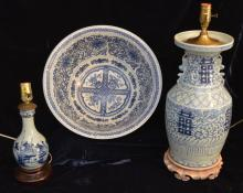 2 Chinese Blue & White Lamps & Centerpiece Bowl