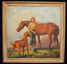 Sam Savitt Oil On Canvas Horse Painting