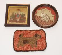 3 Antique Needleworks (Cat, Dog, Little Bo Peep)
