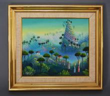 Haitian Surrealist Style Painting Signed Franz