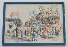 Paris Street Scene Painting Signed Charles