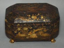 Antique Chinese Gilt & Lacquer Tea Caddy w Feet