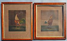 2 War & Peace Cock Fight Lithos by Charles Turner