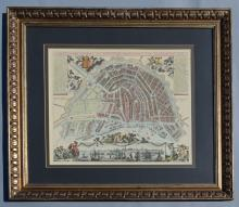 Framed Map Of Amsterdam Joannem de Ram