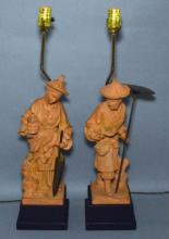 Pair Of Chinese Terracotta Figural Lamps