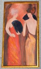 Large Modigliani Style Painting of 2 Women