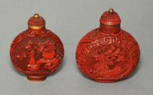 2 Chinese Carved Cinnabar Snuff Bottles, One Signed