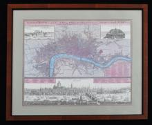 Framed Johann Homann Map Of London