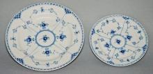 13 Royal Copenhagen Blue Fluted Half Lace Plates