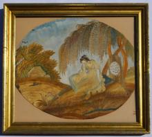 Early Silk Needlework Mourning Picture