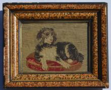 Small Antique Needlework of a Dog