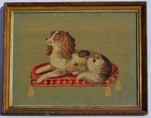 Antique Cavalier King Charles Spaniel Needlework