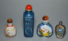 4 Chinese Antique Painted Snuff bottles