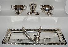 Misc Sterling Silver Lot (Platter, Creamer & Sugar)