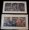 2 Large Framed Woodblock Print Triptychs