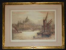 Signed Lithograph St Pauls Cathedral From Thames