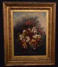 Signed Van Thoren Oil On Board Still Life Painting
