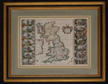 1640 Blaeu Brittania Anglo-Saxonum Hand Colored Map