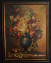 Large Signed Van Harger Floral Still Life Painting