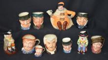 Lot of 11 Royal Doulton Toby Character Mugs