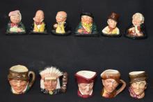 11 Royal Doulton Toby Character Mugs & Busts