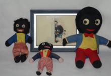 3 Golliwogs Dolls & a Picture