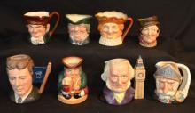 Lot of 8 Royal Doulton Character Toby Mugs