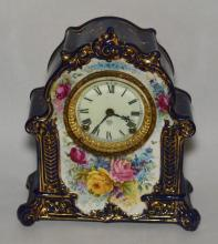 Ansonia Painted  Royal Bonn La Mosella Porcelain Clock