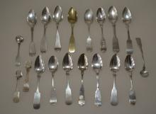 Large Lot of Antique Coin Silver Spoons