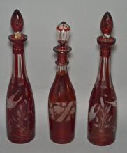 3 Ruby Flashed Cut to Clear Bohemian Glass Decanters